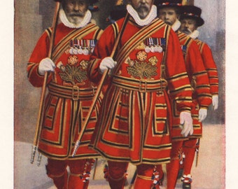 Yeomen of the Guard, original 1930 print - Bodyguard, English Queen, London Tower - 85 years old antique lithograph illustration (A872)