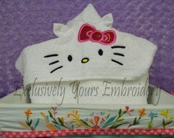 3D Kitty Hooded Towel - Baby Towel - Childrens Hood Towel - Bath Towel - Beach Towel - Personalized Towel - Character Towel