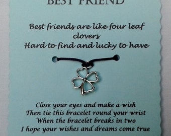 Best Friend Wish Bracelet, Best Friend gift, Friendship bracelet, Charm Bracelet, Cord Bracelet, Friend Bracelet, Friend gift, BFF gift