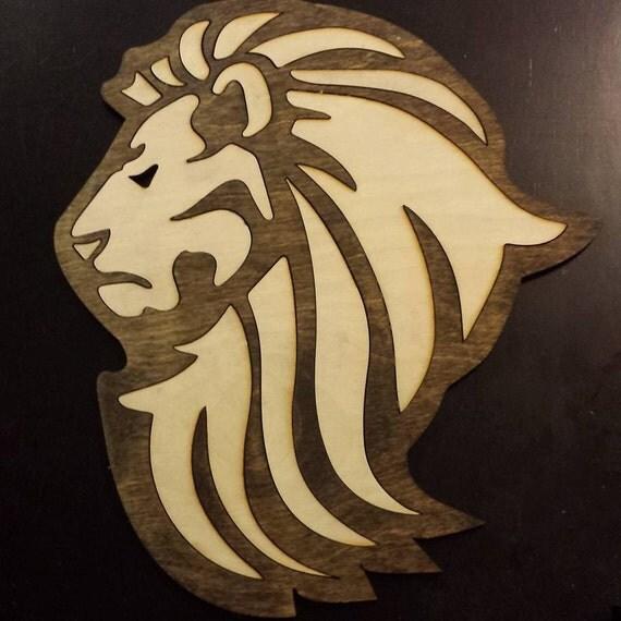 Wood Inlay Wall Decor : Items similar to laser cut wall art wood lion