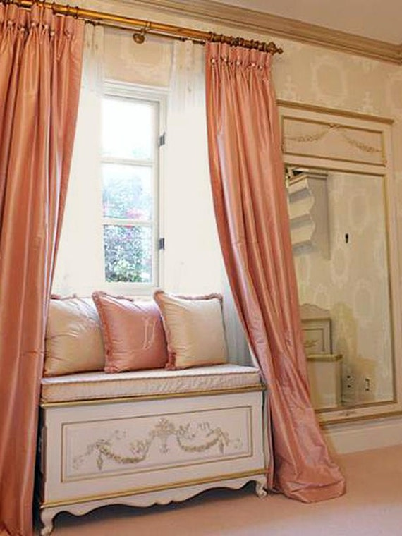 Coral Pink Silk Curtain Dupioni Silk Window Dressing