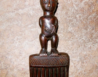 Luba Tribal Hair Figural Comb Original Hand Carved Wood African Wedding 03