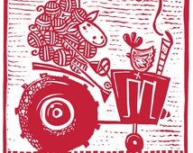 red tractor - childrens wall art - boys art - sheep art