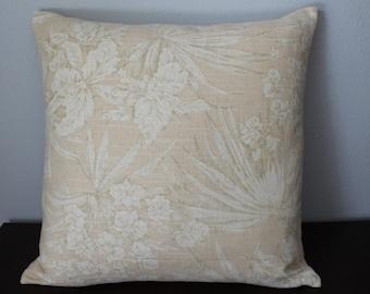 Light Peach Beige Floral Pillow Cover