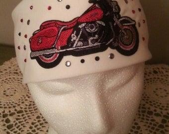 Red Motorcycle on White Bandana