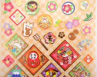 Beautiful Japanese chiyogami paper stickers - sakura cherry blossoms and plum blossoms - daruma doll - origami crane - maneki neko - bento