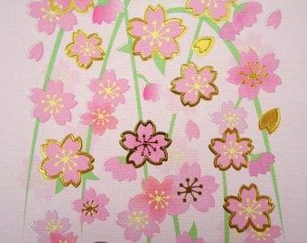 Japanese paper sakura cherry blossom stickers - paper stickers - gorgeous chiyogami stickers - yuzen paper stickers