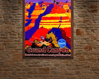 Grand Canyon , Arizona , Vintage Travel Poster.