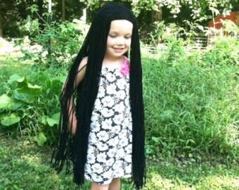 Witch costume wig, Long black wig, Girls costume, Girls wig, Pocahontas costume, Morticia costume, Costume hair, Yarn wigs, Halloween wigs