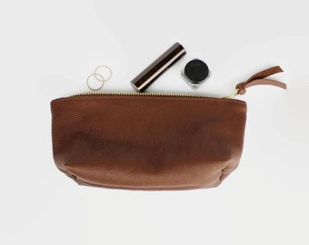 brown leather clutch, leather purse, leather wallet, organic leather pouch, eco leather, leather makeup bag, leather cosmetic bag