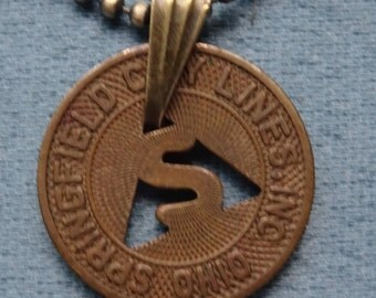 Springfield, Ohio Transit Token Pendant Necklace