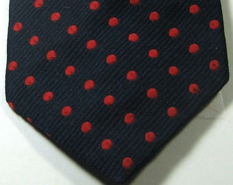 DELIO Rich Navy Blue with Red Polka Dot Tie Vintage RARE Slimm Skinny