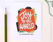 """Cute Holiday Card, """"Joy to the World"""" A2 Greeting Card"""