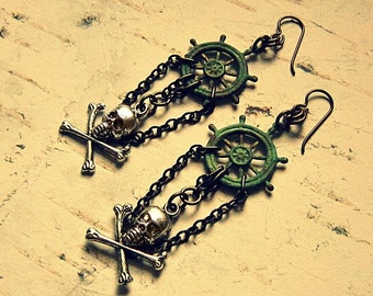 Ship Wheel Skull And Crossbones Earrings, Pirate Earrings With Chains, Ship Wheel Jewelry, Pirate Jewelry, Pirate Accessories