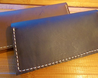 Leather Checkbook Cover / Men's Women's / Handcrafted Wallet / Made in the USA / Brown Checkbook / Dark Brown / Leather / Brown Leather