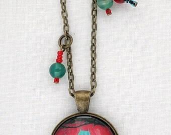Quebec - Quebec Necklace - Red Turquoise Blue Necklace Pendant - Pop Art - Château Frontenac - Quebec City. B52