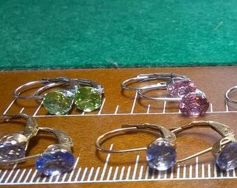 Gemstone earrings 10k Yellow & White Gold