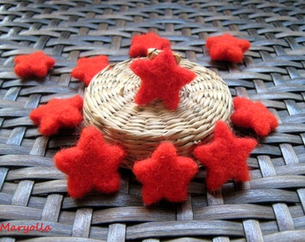 10 Felt Stars, Handmade Merino wool felt stars, felted stars, red felt stars, felt beads, felted beads, red star beads