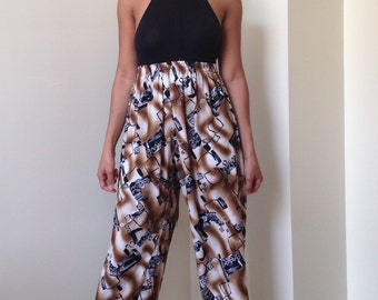 90s Flowy Brown Spray Paint Grafitti Abstract Print Wide Leg Capris - Cropped Pants