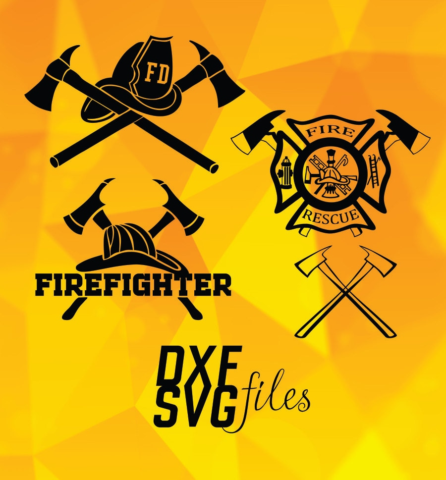 8 Firefighter Logo In Eps DXF PNG And SVG Files Instant By
