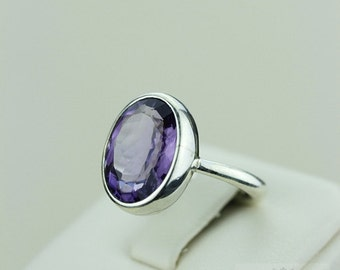 Size 5.5 MULTI FACETED Real AMETHYST (Nickel Free) 925 Fine S0LID Sterling Silver Ring & Free Worldwide Express Shipping r1481