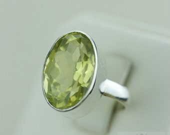 Size 6.5 GENUINE LEMON TOPAZ (Nickel Free) 925 Fine S0LID Sterling Silver Ring & Free Worldwide Express Shipping r1482