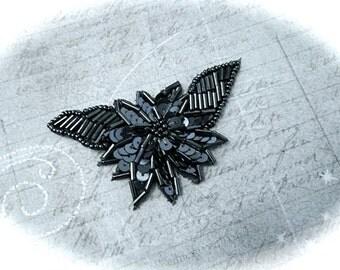 Gunmetal Beaded Applique Sewing Supplies BA-158
