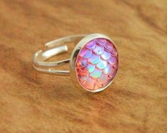 Pink Mermaid Ring, Dragon Ring, Mermaid Scales, Dragon Scales, Fantasy Jewellery, Mermaid Jewelry, Dragon Gift, Pink Ring, Mermaid Tail