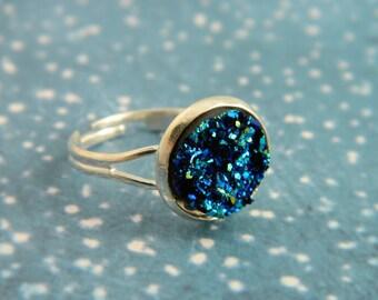 Blue Druzy Ring, Druzy Ring, Faux Druzy, Galaxy Jewellery, Galaxy Ring, Midnight Blue, Druzy Stone, Blue Ring, Druzy Jewellery, Sparkly Ring