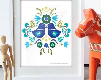 Scandinavian Folk Art Spring Blue love bird flower art print retro Scandinavian Style Design bird poster Floral Art
