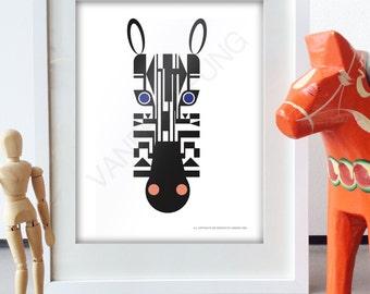 "Zebra wall art, 8.5"" X 11"" Animal Art print, Modern Zebra art, Minimalist animal art decor"