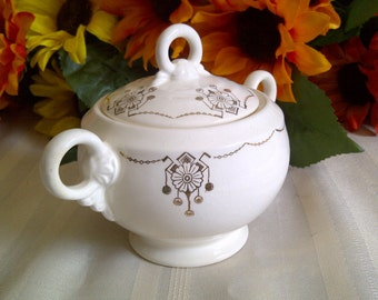 1940's Crown Potteries Sugar Bowl With Lid. Beautiful Ivory With Gold Floral Design.