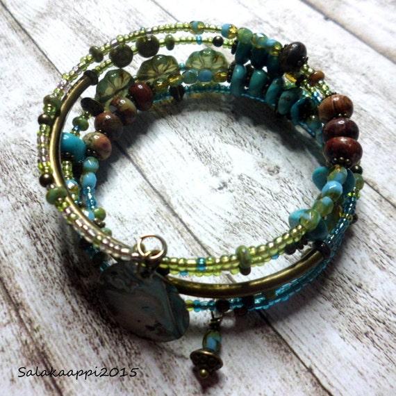 Memory Wire Bracelet Jasper Turquoise Czech Glass By