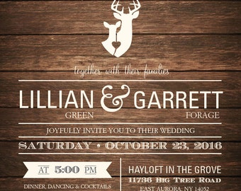 Buck&Doe Rustic Wedding Invitation, Deer Wedding Invitation, Country Wedding Invitation