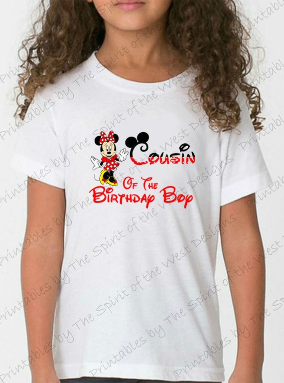 Cousin Of The Birthday Boy Minnie Mouse Iron On IMAGE Ears Printable Clip Art Disney Shirt Party T Transfer Download Mickey