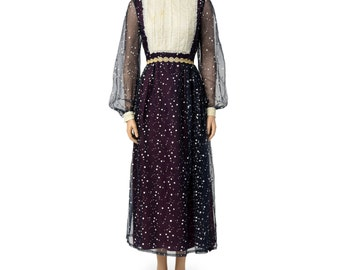 Beautiful Vintage Navy with White Polka-Dot and Lace Detail Peasant Dress, Size Medium