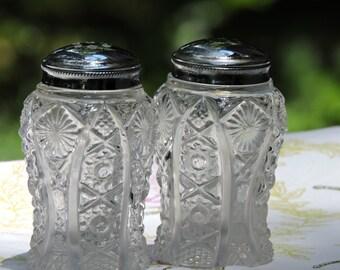 BEAUTIFUL Vintage Cut Glass Salt & Pepper Shaker Set