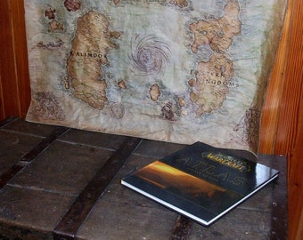 MTO Big Azeroth map. World of Warcraft map. Choose expansion. Fantasy map. WoW. Handdrawn, dyed, sewn.