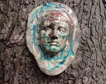 Vintage Handmade Ceramic Art/ Sculpture/ Wall Hanging/ Scary Art/  Halloween  Art
