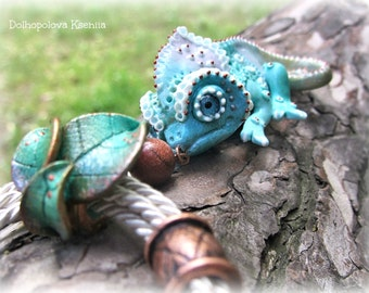 Polymer clay pendant with turquoise chameleon - Jewelry  - polymer clay miniature - gift for her - Nature - animal jewelry