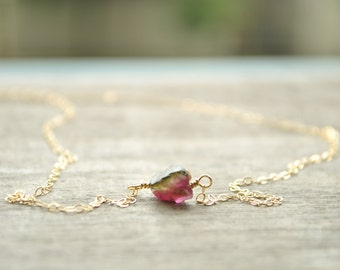Raw watermelon tourmaline necklace
