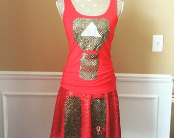 Red Man Superhero Inspired Running outfit costume skirt and tank top