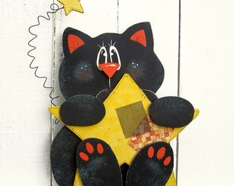 Halloween Black Cat Shelf Sitter Halloween Decor Cat Decor Painted Wood Cat Halloween Cat Halloween Wood Cat Wood Tole Cat Halloween Star