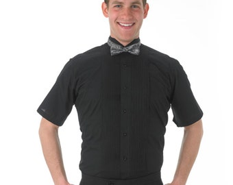 Men's Black Short Sleeve Tuxedo Shirt