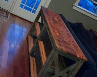 Rustic Reclaimed Wood Sofa Table Storage Shelves TV Stand