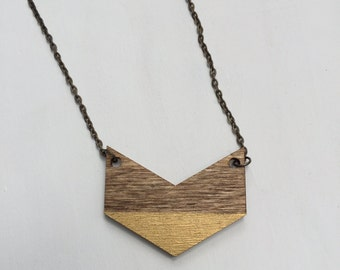Hand-stained and hand-painted Chevron Pendant Necklace