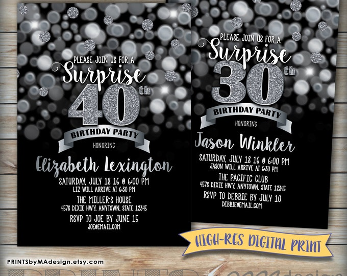 Surprise Birthday Party Invitation Black and Silver Bokeh, Silver Glitter, Any Birthday Invite, Digital Printable file