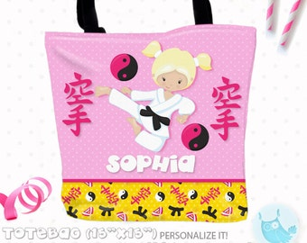SALE Karate Girl Personalized Tote Bags, custom Tote bag, sport kids tote, school tote, kindergarten tote, beach tote bag, Tote Bags TB122