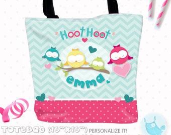 SALE Owl Personalized Tote Bags, custom Tote bag, kids tote, school tote, kindergarten tote, beach tote bag, owls Tote Bags TB115