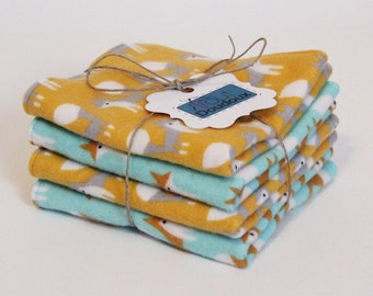 Organic washcloths, Ultra soft, Flannel & French Terry, 2 ply wash cloths, Baby wipes, Fox, Elephant, Pink, Gold, Blue, Turquoise, Purple
